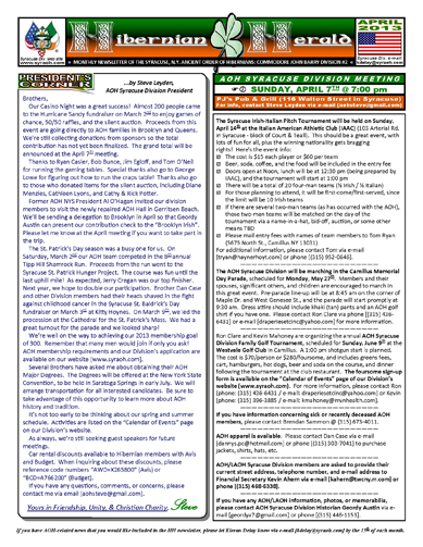 "AOH Syracuse Division monthly ""Hibernian Herald"" newsletter"